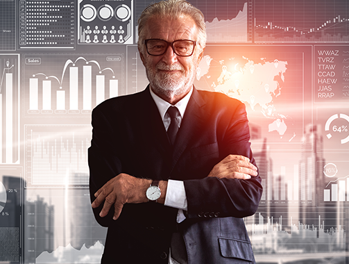 Elderly businessman in front of a digital artwork