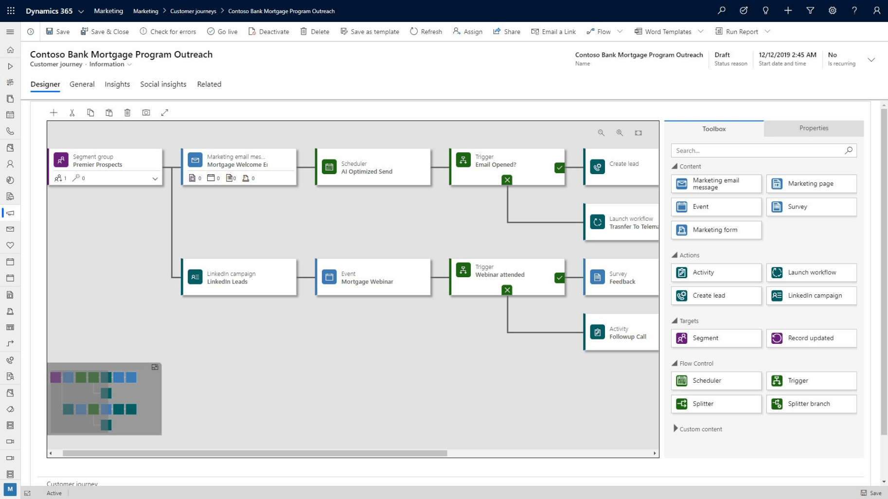 Screenshot des Dynamics 365 for Marketing Lead Scoring Editors
